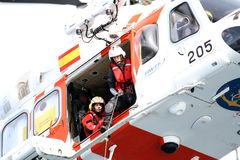 Helicopter Of The Spanish Maritime Rescue Team Royalty Free Stock Photo
