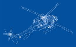 Helicopter outline. Military equipment Royalty Free Stock Photo