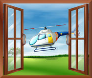 A helicopter outside the window royalty free illustration