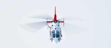 Helicopter. Over blue sky background, front view Royalty Free Stock Image