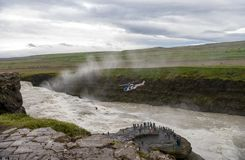 Helicopter over the canyon of Hvita river on a cloudy day. Iceland Royalty Free Stock Images