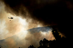 Helicopter over forest fire. A helicopter carrying water in the attempt to contain a forest fire Stock Image