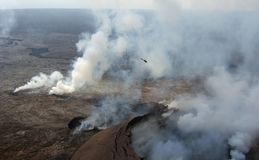Helicopter over Kilauea Royalty Free Stock Images
