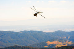 Helicopter. Over the mountains of Bulgaria Stock Image