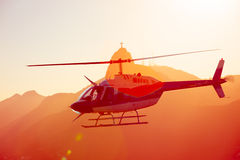 Helicopter over the Rio Royalty Free Stock Photos