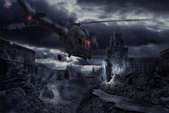 Helicopter over ruined city during storm Royalty Free Stock Photography