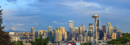 Helicopter over Seattle city Stock Image