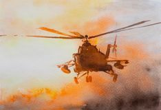 Helicopter over sunset. Watercolor drawing Royalty Free Stock Image