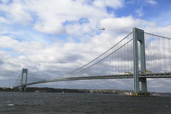 Helicopter over the Verrazano Bridge during New York City Marathon start. NEW YORK - NOVEMBER 2: Helicopter over the Verrazano Bridge during New York City stock photography