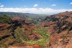 Helicopter over Waimea Canyon on Kauai stock images