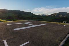 Helicopter pad on Altai mountains stock photography