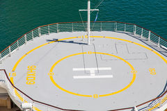 Helicopter Pad on Bow of Cruise Ship. Helicopter pad on the bow of a luxury cruise ship Royalty Free Stock Photos