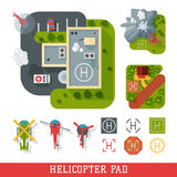 Helicopter pad landing ground landing area platform vector top view illustration. Helicopters landing pad aviation city platform. Takeoff vehicle tourism Royalty Free Stock Photo