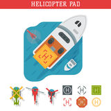 Helicopter pad landing ground landing area platform vector top view illustration. Helicopters landing pad aviation city platform. Takeoff vehicle tourism Royalty Free Stock Images