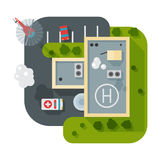 Helicopter pad landing ground landing area platform vector top view illustration. Helicopters landing pad aviation city platform. Takeoff vehicle tourism Stock Photo