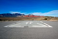 Helicopter pad with a view of the Mojave Desert. Royalty Free Stock Photos