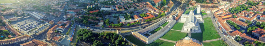Helicopter panoramic view of Square of Miracles - Pisa, Tuscany Stock Photography