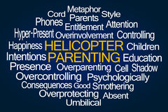 Helicopter Parenting Word Cloud. On Blue Background stock illustration