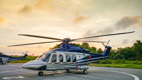 Helicopter parking in Hangar and prepare for fly by support team Royalty Free Stock Images