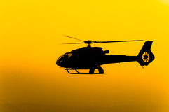 Helicopter. The patrol helicopter flying in the sky Royalty Free Stock Images