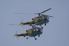 Helicopter performing during airshow Stock Photos