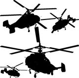 Helicopter Perspective Silhouettes Vector 01. Military Transportation Army Helicopter Perspective Silhouettes Royalty Free Stock Photography
