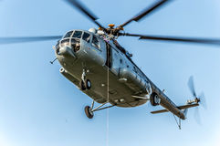 Helicopter. Picture was taken while the helicopter was hovered Stock Photos