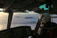 Helicopter pilot in Antarctica Stock Photos