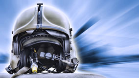 Helicopter pilot helmet. On blue abstract background Royalty Free Stock Photos