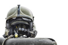 Helicopter pilot helmet. Isolated on white Royalty Free Stock Photos