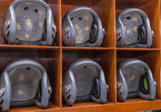 helicopter pilot helmet on the lockers Stock Photo
