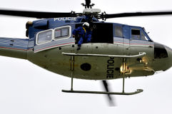 Helicopter police patrol Stock Photo