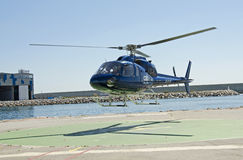 Helicopter at the Port in Barcelona stock images