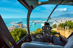 Helicopter in port of Malaga Royalty Free Stock Image