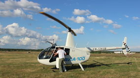 Helicopter prepared for flight, the engine running stock video footage