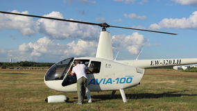 Helicopter prepared for flight, the engine running stock video