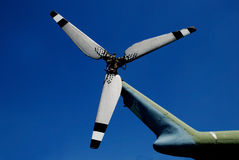 Helicopter propeller. Old helicopter proppeler close up shot Stock Photos
