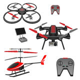 Helicopter and quadrocopter, quadcopter with camera, remote controls set Royalty Free Stock Image