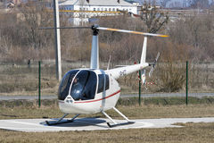 Helicopter R44 Robinson Raven 1 in Bucha, Ukraine. Royalty Free Stock Photo