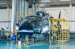 Helicopter repair hangar Stock Photos