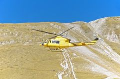 Helicopter rescue, Campo Imperatore, Gran Sasso, Italy Stock Images