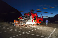 Helicopter rescue, helicopter in the air while flying Stock Images
