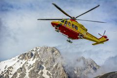 Helicopter Rescue on the Mountain stock photography
