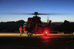 Helicopter rescue, night in Dolomites Royalty Free Stock Image