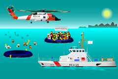 Helicopter rescue teams and ship at sea. The refugees on the boat. The accident on the water. Rescue on the water. Every object on vector illustration