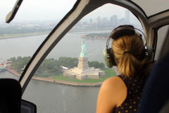Helicopter ride. Over the Statue of Liberty Royalty Free Stock Images