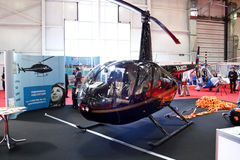 Helicopter. Robinson R44 Raven2. MOSCOW - MAY 19: Helicopter. Robinson R44 Raven2 at the international exhibition of  the helicopter industry, HeliRussia on May Royalty Free Stock Images