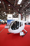 Helicopter Robinson R44 White Eagle concept. MOSCOW - MAY 19: Helicopter Robinson R44 White Eagle concept at the international exhibition of  the helicopter Stock Image