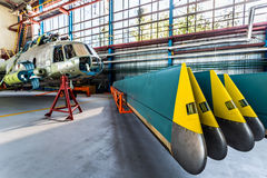 Helicopter rotor blades removed from aircraft Royalty Free Stock Images