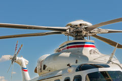 Helicopter's rooter. On blue sky background Royalty Free Stock Image